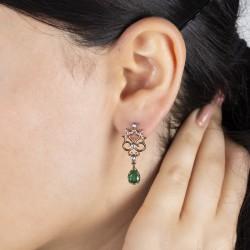 0,44 crt Diamond Drop Emerald Earrings